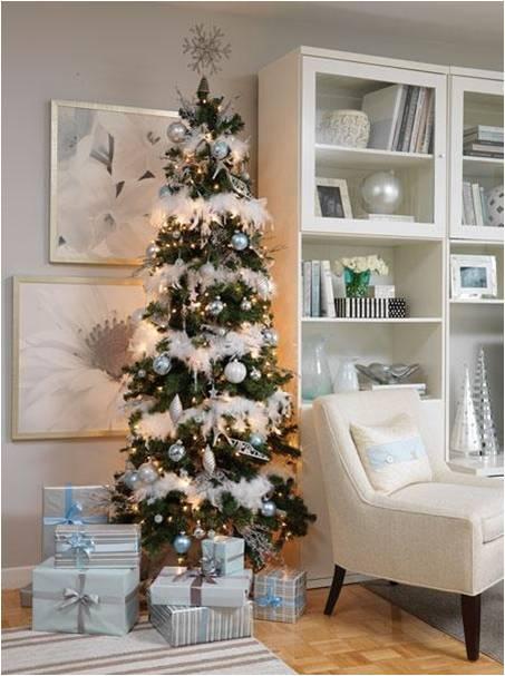 Albero Di Natale Bianco E Argento.Albero Di Natale Azzurro