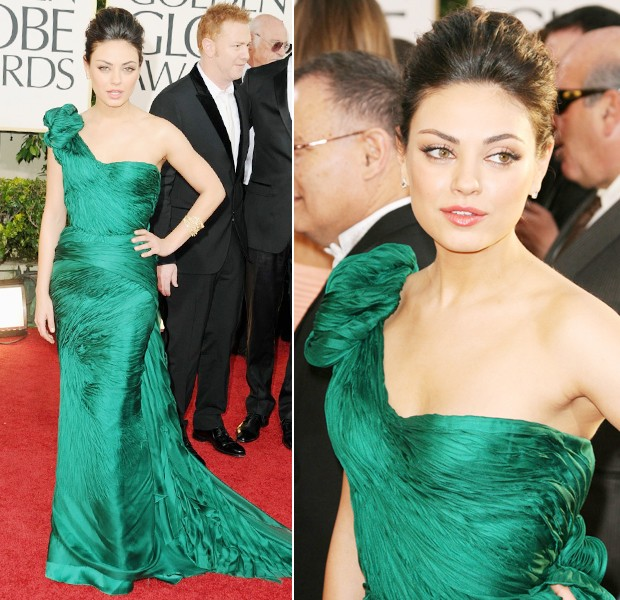 mila kunis in vera wang golden globes 2011