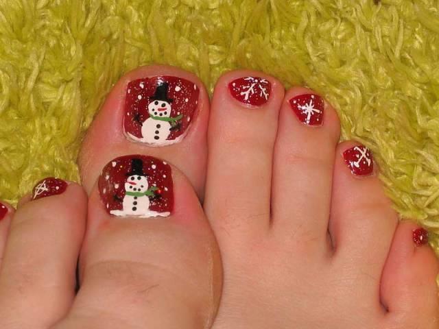 nail art piede pupazzo di neve