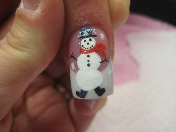 nail art pupazzo di neve natale