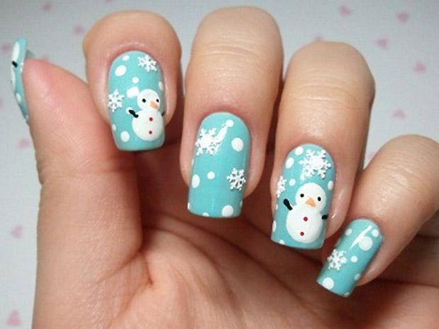 nail art puppazzino di neve