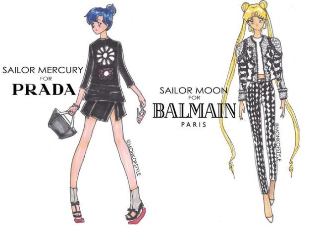 sailor-moon balmain e sailor mercury in prada