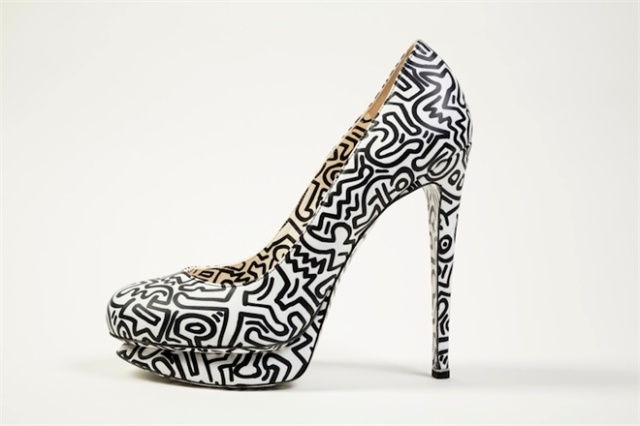 black and white platform Keith Haring pumps