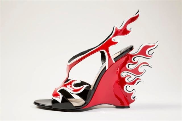 red and black flame sandals