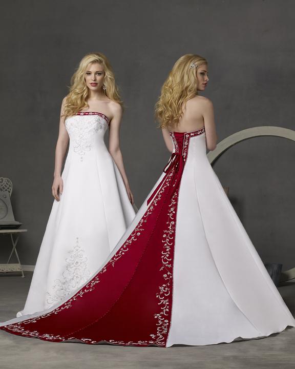 abito da sposa bianco e rosso