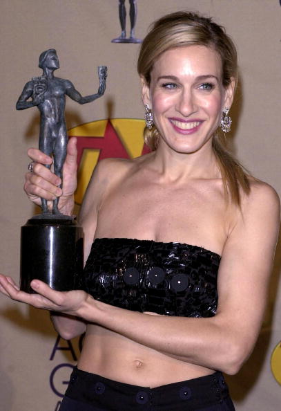 US actress Sarah Jessica Parker poses backstage wi