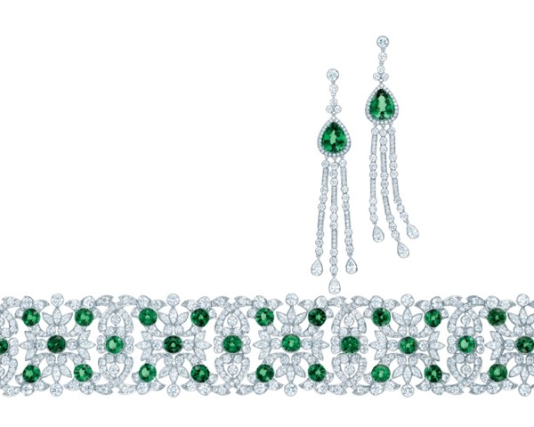 TIFFANY-TSAVORITE-AND-DIAMOND-EARRINGS-AND-BRACELET-FROM-THE-2013-BLUE-BOOK-COLLECTION