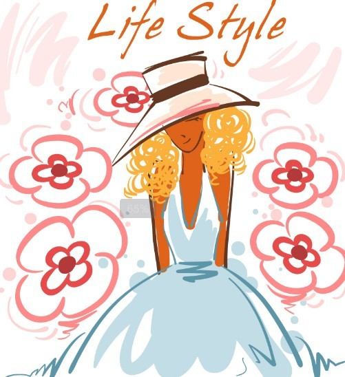 Fashion-Hand-Drawn-Vector-Spring-Girl-03