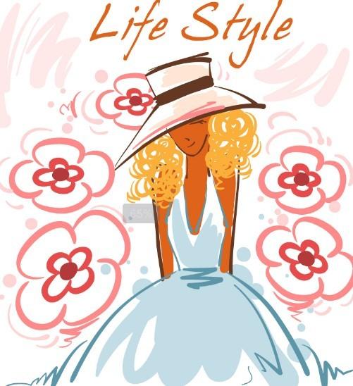 Fashion-Hand-Drawn-Vector-Spring-Girl-03