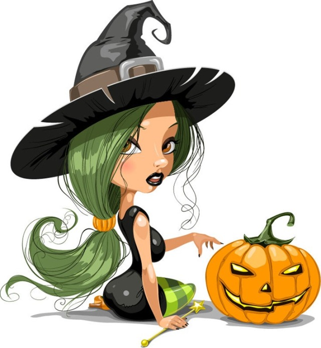 Pretty-Witch-with-Halloween-Vector-Illustration-2