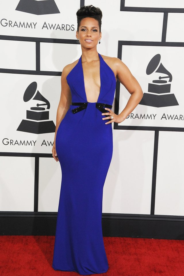 alicya keys in armani privè grammy awards 2014