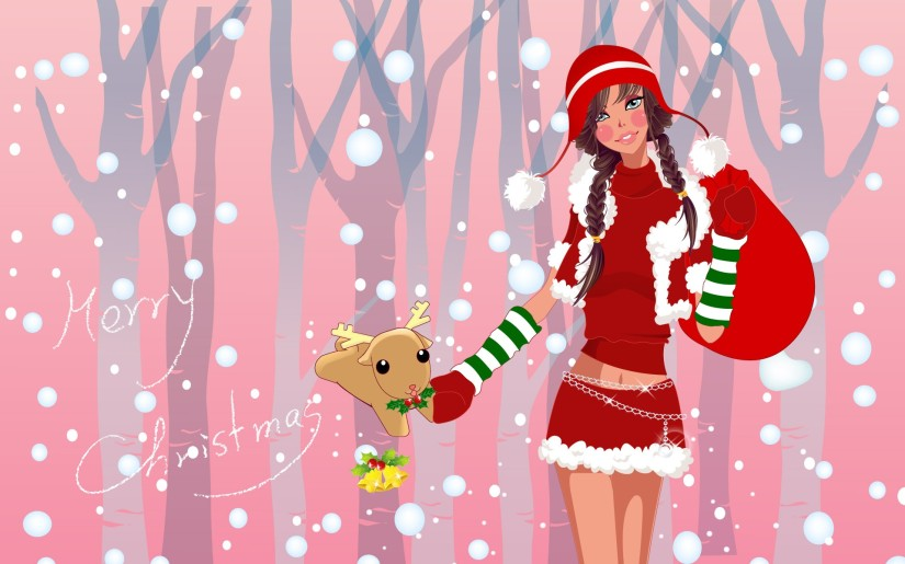 Vector-Christmas-girls-widescreen-40326