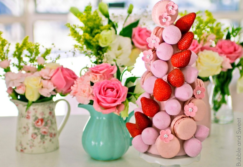 make your own pretty pink macaron tower marshmallow strawberry greengate jub ib laursen roses pitcher teal mint