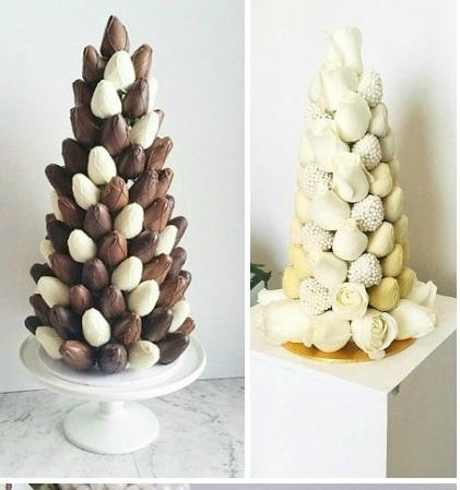 torre di fragole al cioccolato