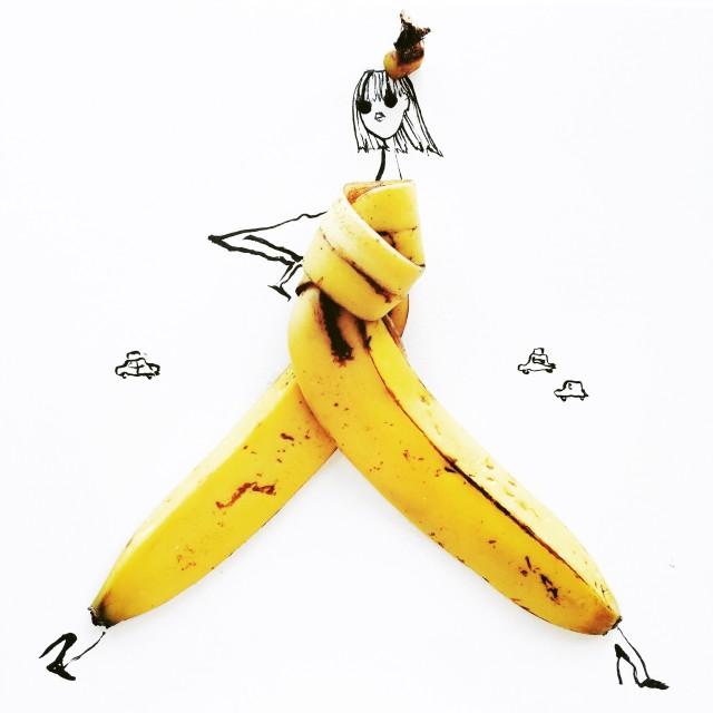 gretchen roehrs illustrazione con buccia di banana