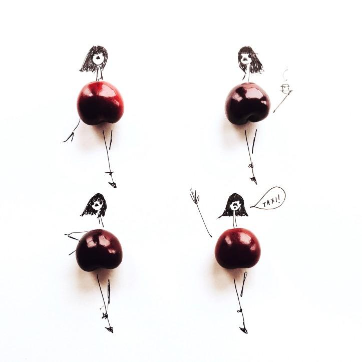 gretchen roehrs illustrazioni fashion con frutta