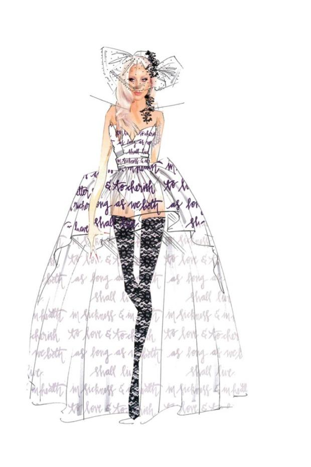 nicole miller wedding dress lady gaga
