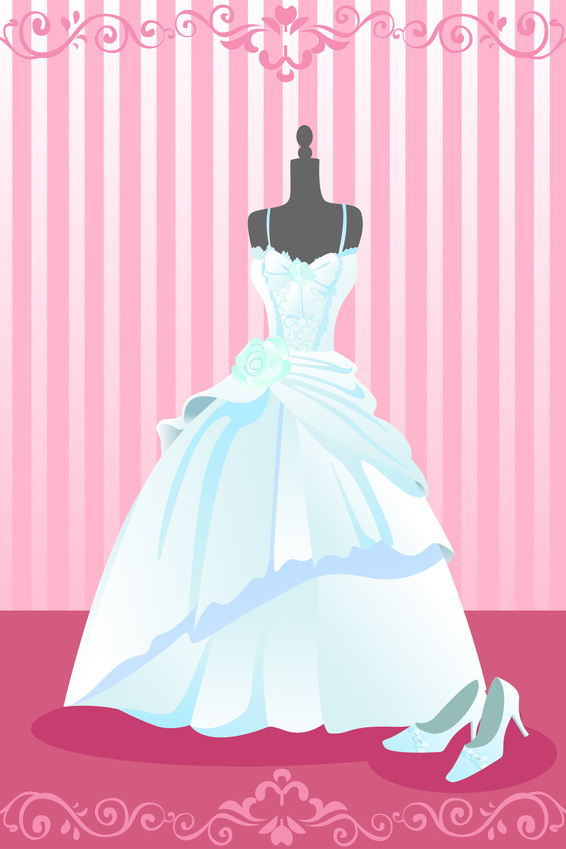 A vector illustration of a wedding dress and a pair of wedding shoes