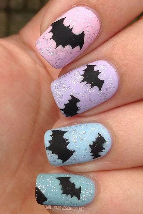 unghie-halloween-pipistrello