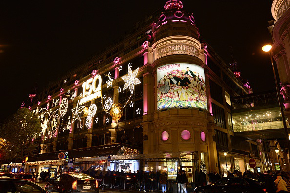 A picture taken on November 6, 2015 in Paris shows Printemps departement store illuminated for Christmas. AFP PHOTO / BERTRAND GUAY (Photo credit should read BERTRAND GUAY/AFP/Getty Images)