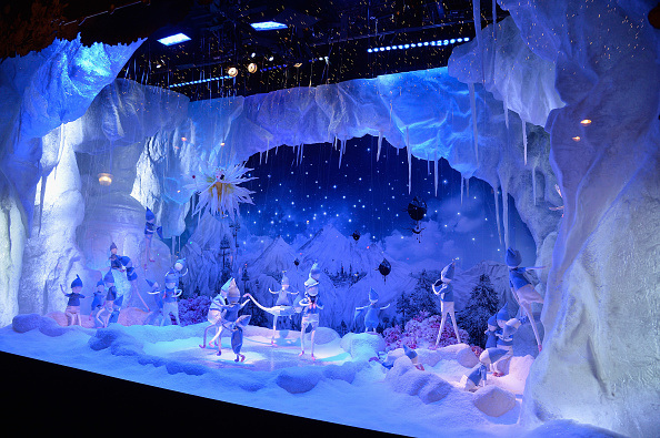 PARIS, FRANCE - NOVEMBER 06: A decorated window during the Christmas Decorations Inauguration at Printemps Haussmann on November 6, 2015 in Paris, France. (Photo by Pascal Le Segretain/Getty Images)