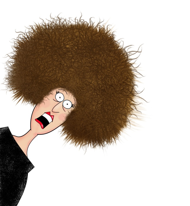 Humor illustration of a frazzled woman screaming