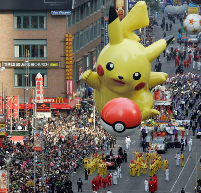 The Pikachu balloon floats down Broadway during the Macy's Thanksgiving Day parade in New York, Thursday, Nov. 22, 2007. (AP Photo/Jeff Christensen)