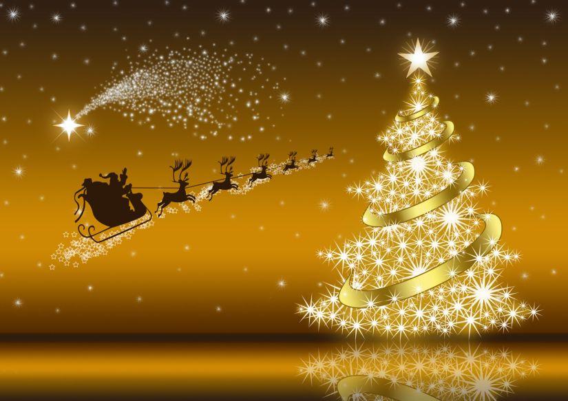 Golden Christmas card with Santa Claus