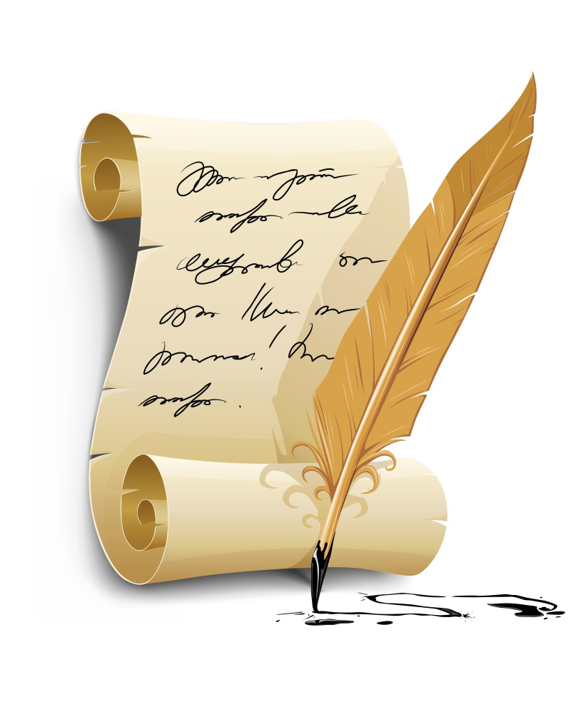old writing script with ink feather tool - vector illustration